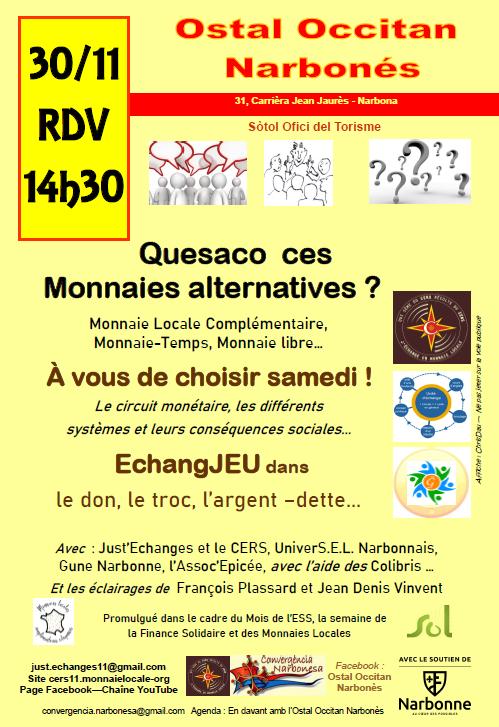 Après-midi découverte des échanges et monnaie sà l'Ostal Occitan Narbonne, dans le cadre de la Semaine des Monnaies Locales