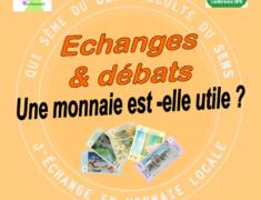 """Réflexion débat """"une monnaie est-elle utile ?"""" vendredi 15 décembre à la médiathèque de Narbonne à 18h. Intervenants et animateurs François Plassard, Christine Dauzats, Michel Tozzi"""